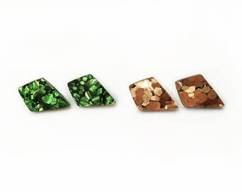 Spear Point Studs - laser cut diamond shape emerald or bronze acrylic