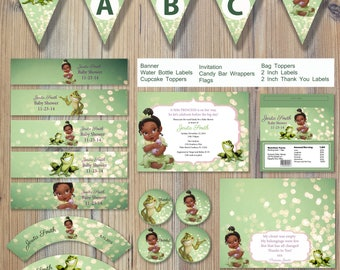 Instant Download - Princess and the Frog Baby Tiana Shower Editable Printable Party Package Event Invitation Template