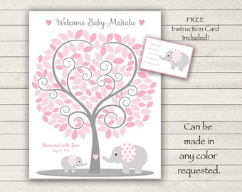 Baby Shower Guest Book - 11x14 Sign-In Tree Poster -ELEPHANT Theme Baby Shower Guest Book Alternative - 135 leaves - READ DESCRIPTION