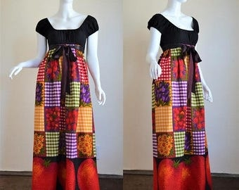 ON SALE 1970s Young Edwardian by Arpeja Peasant Style Maxi Dress