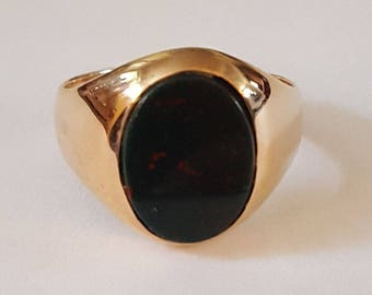 Vintage 10k Gold and Bloodstone Ring Size 5