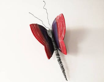 Red purple butterfly, ceramic butterfly, wall butterfly sculpture, large butterfly sculpture, clay and wire butterfly art object