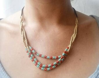 Handmade bohemian necklace beaded red and turquoise