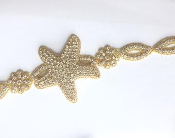 Starfish applique trim, Rhinestone applique trim, Bridal rhinestone crystal trim, Beach Wedding, Sash belt supply - NO RIBBON