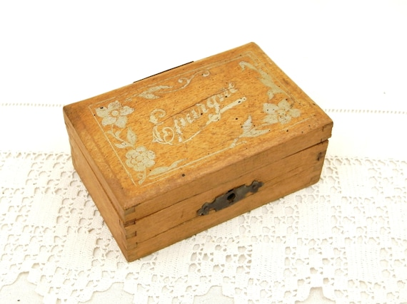 Small Antique French Wooden Money Box with Dove Tail Joins Coin Slot Silver Colored Floral Pattern with Epargne Savings on the Lid