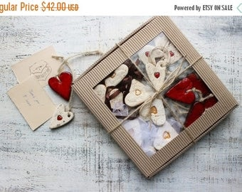 CHRISMAS IN JULY 20-26.07 Large gift box set of 16 rustic red white heart ornaments cottage chic baby shower boho Valentines Mother's Day gi