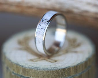 Men's Wedding Ring with Antler Inlay - Staghead Designs