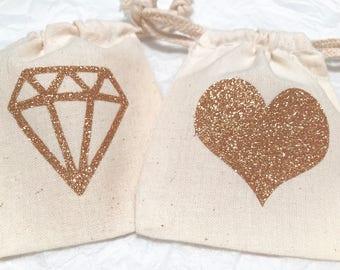 Glitter Gold Heart Diamond Muslin Bags, Wedding Favor Bags
