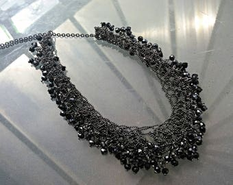Vintage black necklace lace worked with tiny black glass beads gothic steampunk victorian