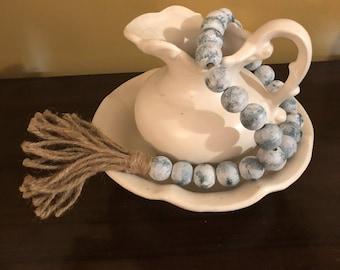 Wood Bead Garland,Farmhouse Beads, Farmhouse Decor, Wood beads