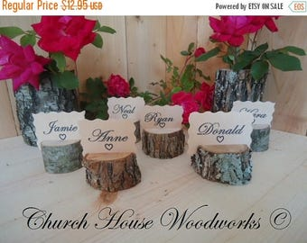 SALE 12 rustic place card holders, tree card holders, place holders, rustic wedding decor, wood place card holder, rustic wedding supplies