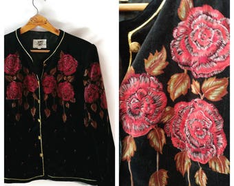 Vintage Saxton Hall jacket size XL/XXL velvet flowers gold tone accents