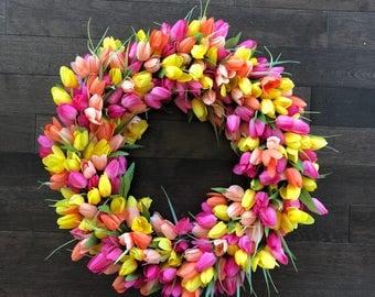Tulip Wreath, Easter Wreath Modern, Wreaths for Front Door, Front Door Wreaths, Spring Wreaths for Front Door, Wreaths for Spring