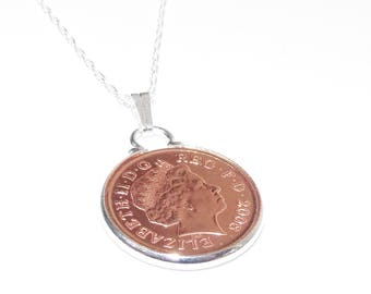8th Bronze wedding anniversary pendant - Copper 1p coins from 2010 - Gift