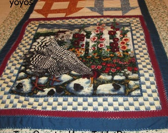 TABLE RUNNER Country Hens Home Cabin Cottage Kitchen Dining Décor
