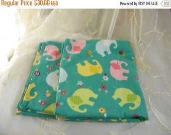 Summer Sale Set of Two Handmade Flannel Receiving Blankets - Multi-Colored Elephants, Teal, Green, Pink, Blue, Yellow