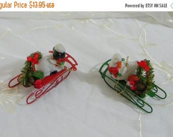 Summer Sale Vintage 1980s Christmas Around the World Ornaments, Set of 2 Goose and Lamb on Sleds Original Box