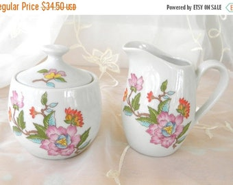 Summer Sale Dolphin Le Jardin Fine China, Creamer and Sugar Bowl Set, Vintage Items, Coffee and Tea Serving Pieces