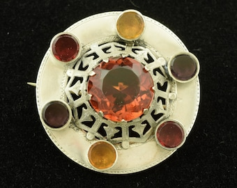 Victorian Brooch Colorful Glass Stones ~ Lot 1447