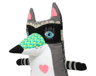 Handmade plush toy stuffed animal raccoon with mask and stripes grey