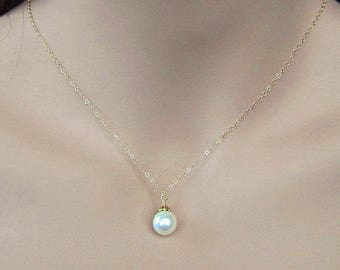 Single Pearl Gold Necklace, 14K Gold Necklace, Floating Pearl and Gold Necklace Gold and Pearl Bridal Necklace Solitaire Pearl Drop Necklace