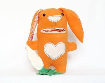 Orange Bunny Plush with Zipper Mouth, Bunny Rabbit Eat Carrot, bunny plushie, bunny stuffed animal, cute stuffed bunny, gifts for babies