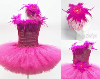 PINK FLAMINGO COSTUME 2pc Set, Tutu Dress Set, Hot Pink Bird, Feather Hair Accessory, Girls, Halloween, Toddler, Ballet, Pageant, Ballerina