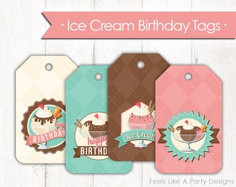 Ice Cream Birthday Tags - Instant Download