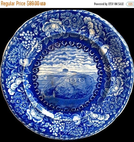 Antique Flow Blue Cabinet Plate Historic Plymounth Mass 1620 Pilgrim Rock Plate English Transferware