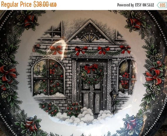 Large Serving Bowl Royal Stafford Burslem Christmas House Bowl Serving 9 inch Holiday English Transferware