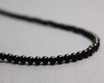 Onyx Necklace, Black Onyx Necklace, Black Necklace, Onyx Jewelry, Long Onyx Necklace, 3mm Onyx Necklace, Black Bead Necklace, Kathy Bankston