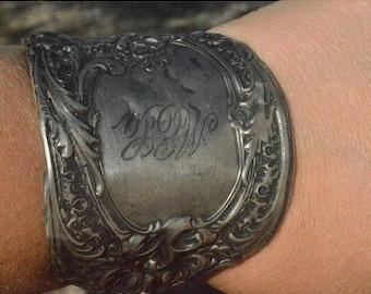 ON SALE 50% OFF Antique Art Nouveau Rustic Sterling Silver Cuff Bracelet 925 Wide .925 Bracer Renaissance Armor Gladiator Spartan Spoon Medi