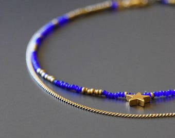 Cosmos Choker Choker double strand seed bead and gold plated chain
