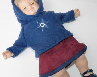 "bitty baby clothes, girl doll or 15"" twin, navy blue snowflake hoodie,burgundy red skirt ,2pc, handmade by adorabledolldesigns-christmas"