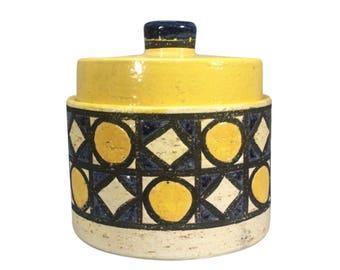 Raymor Bitossi Pottery Round Containor  w/Lid 1960's Mid Century Italy