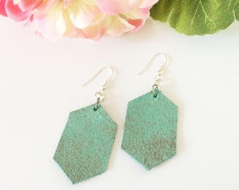 Leather earrings, hexagon earrings, fun earrings, mint green, geometric earrings, shiny metallic leather, summer accessory, shimmer, silver