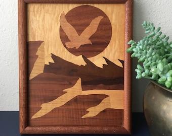 vintage inlay wood art marquetry eagle mountain scene wall art 70s boho