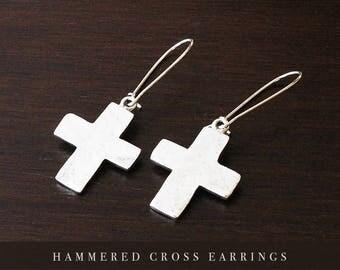 Cross earrings cross jewelry silver cross earrings silver cross jewelry cross charm silver cross faith earrings faith jewelry of faith