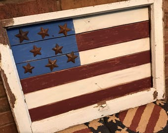 Salvaged Windowframe used to Create American Flag