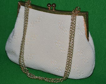 Vintage   Scalloped Handbag Purse Clutch Evening Wedding Handbag   by GOLDCO 1960s