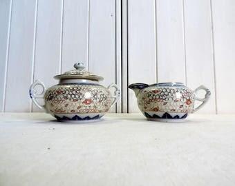 Vintage Chinese, hand painted, Macao rice grain, Tiensen Dragonware porcelain set of pitcher, milk jug, and sugar bowl