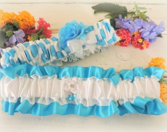 Garter for wedding prom garter turquoise blue white lace garter something blue wedding accessories throw garter keepsake garter