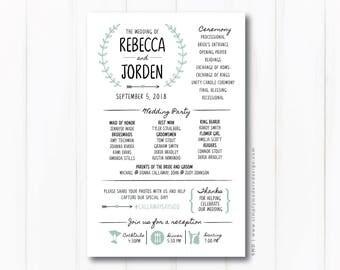 rustic wedding ceremony program,  modern, fun wedding programs, itinerary, timeline, reception sign, PRINTABLE or PRINTED PROGRAMS