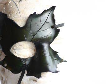 steampunk leather mask, leaf mask half face ,made to order