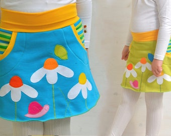 Cute twin girls daisies appliqué skirts set,twin girls clothing,matching sisters outfits,twin girls outfits,twins baby gifts,twin baby girls