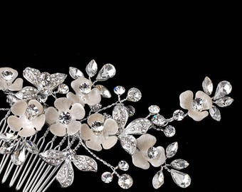 Floral Crystal Bridal Hair Comb Wedding Hairpiece In Silver And Ivory, Flower Hair Comb, Bridal Headpiece, Bridal Hairpiece