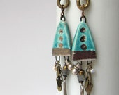 Radiant Discards - rustic aqua blue earrings w/ artisan ceramics; turquoise metallic, mixed media, boho grungy primitive assemblage earrings