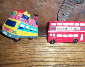 Pair of Travel Souvenir Refrigerator Magnets Buses London England St Thomas Virgin Islands Fridge Caribbean