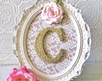 Baby Girl Nursery Decor, Girl Nursery Letters, Letter Frame, Pink and Gold, Wall Letters Shabby Chic Nursery Decor