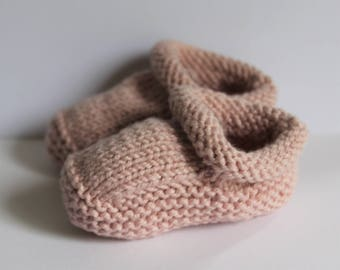 baby Booties hand knitted in gentle shade of pink cotton and silk baby yarn.